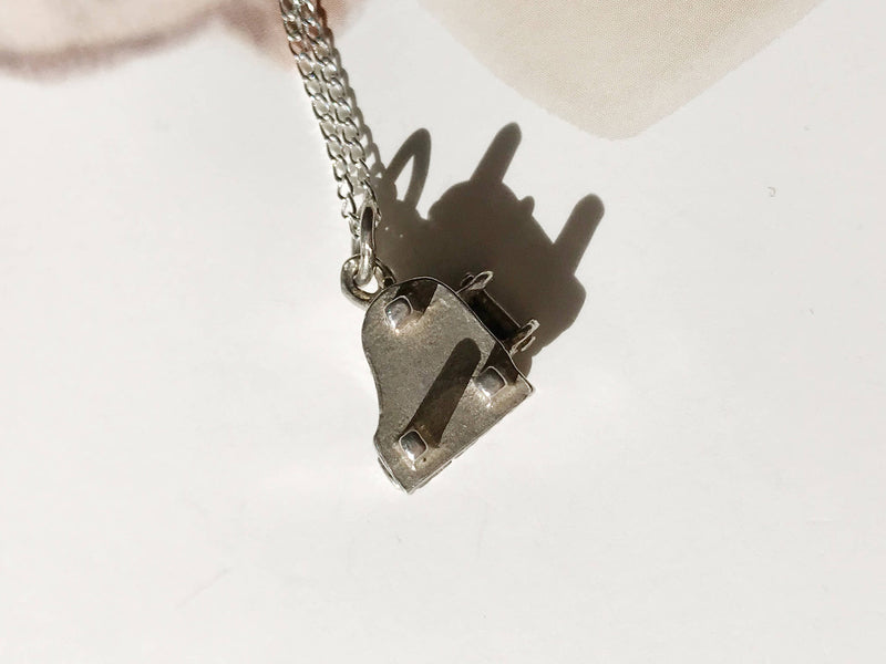 Vintage piano charm necklace | 1950's silver music grand piano charm | retro moveable charm | gift for music lover | gift for pianist