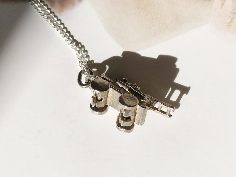Vintage firetruck charm necklace | 1950's silver firetruck charm | retro moveable charm | gift for firefighter | gift for EMT