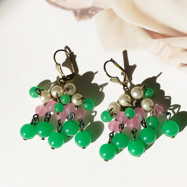 Art Deco dangle drop earrings | 1930's glass, faux pearl and brass statement earrings | flapper green, pink, cream dangly long earrings