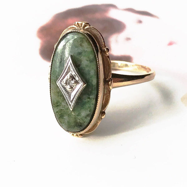 Art Deco diamond and green stone ring | vintage 1930's 10k gold oval green jasper cocktail ring | protection and healing stone | size 6 1/2