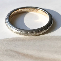 Antique wedding band | Edwardian white and yellow gold Dogwood flower band | engraved April 22 1907 | endurance undying love | size 5.5
