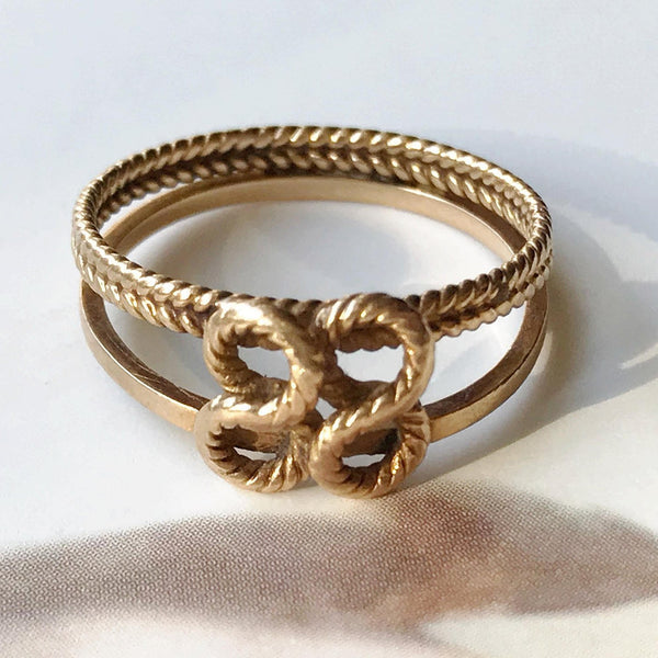 Vintage love knot ring | 14k gold intertwining double sailor's knot rope ring |  friendship marriage lover anniversary ring | size 4