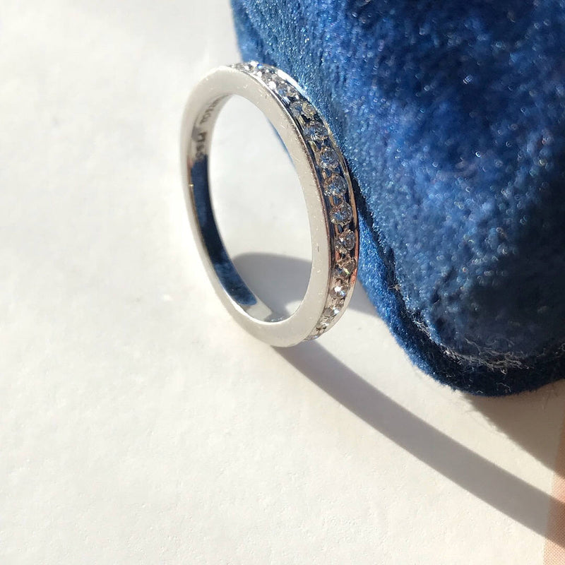 Vintage Tiffany diamond platinum wedding band | 15 diamond Tiffany & Co thin classic band | 15 year annivesrary ring | size 4 1/4 | .25CTW