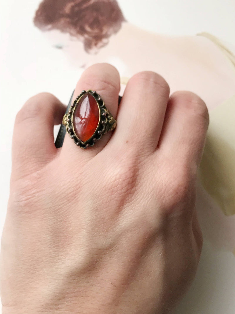 Vintage bohemian gypsy ring | 1970's simulated carnelian large orange stone ring | adjustable size costume pirate mermaid ring