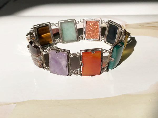 Vintage colorful stone silver panel bracelet | chalcedony, goldstone, agate, amethyst, carnelian, tiger's eye | 1940's late Art Deco