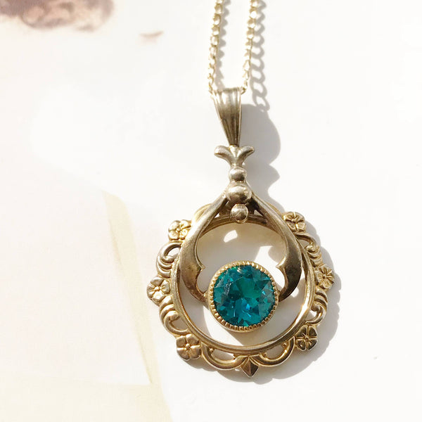 Vintage lavalier necklace | Art Deco blue glass flower pendant | turquoise teal blue crystal charm necklace | blue bridal necklace