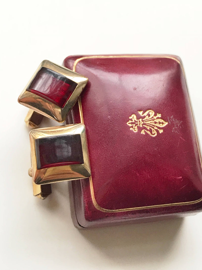 Vintage garnet glass cufflinks | Swank red stone gold filled mid century jewelry cuff links | gift for him best man | man anniversary gift