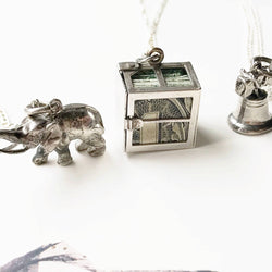 Vintage charm necklace | elephant, Liberty Bell Philadelphia, dollar bill vintage charms | gift for good luck | gift for entrepreneur