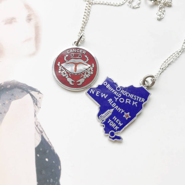 Vintage enamel charm necklace | New York state, Cancer zodiac vintage charms | gift for NY lover | blue red enamel charms | vintage charm