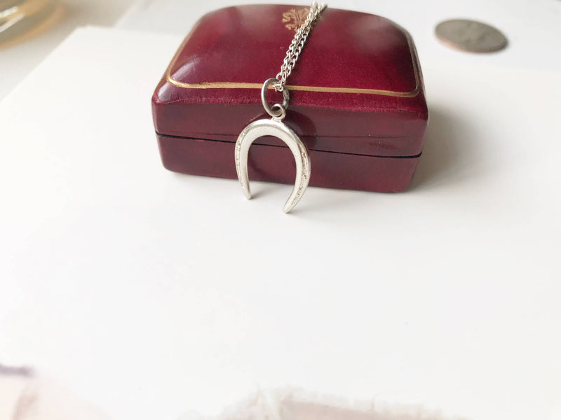 Vintage horseshoe charm necklace | sterling silver vintage charm | gift for new job | gift for horse lover | good luck charm