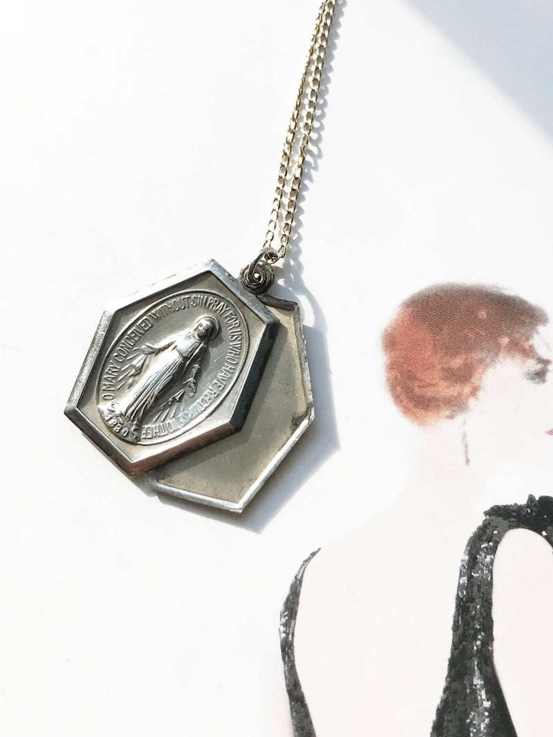 Art Deco miraculous medal locket necklace | 1930's sterling silver slide locket | Virgin Mary Immaculate Conception Catholic prayer necklace