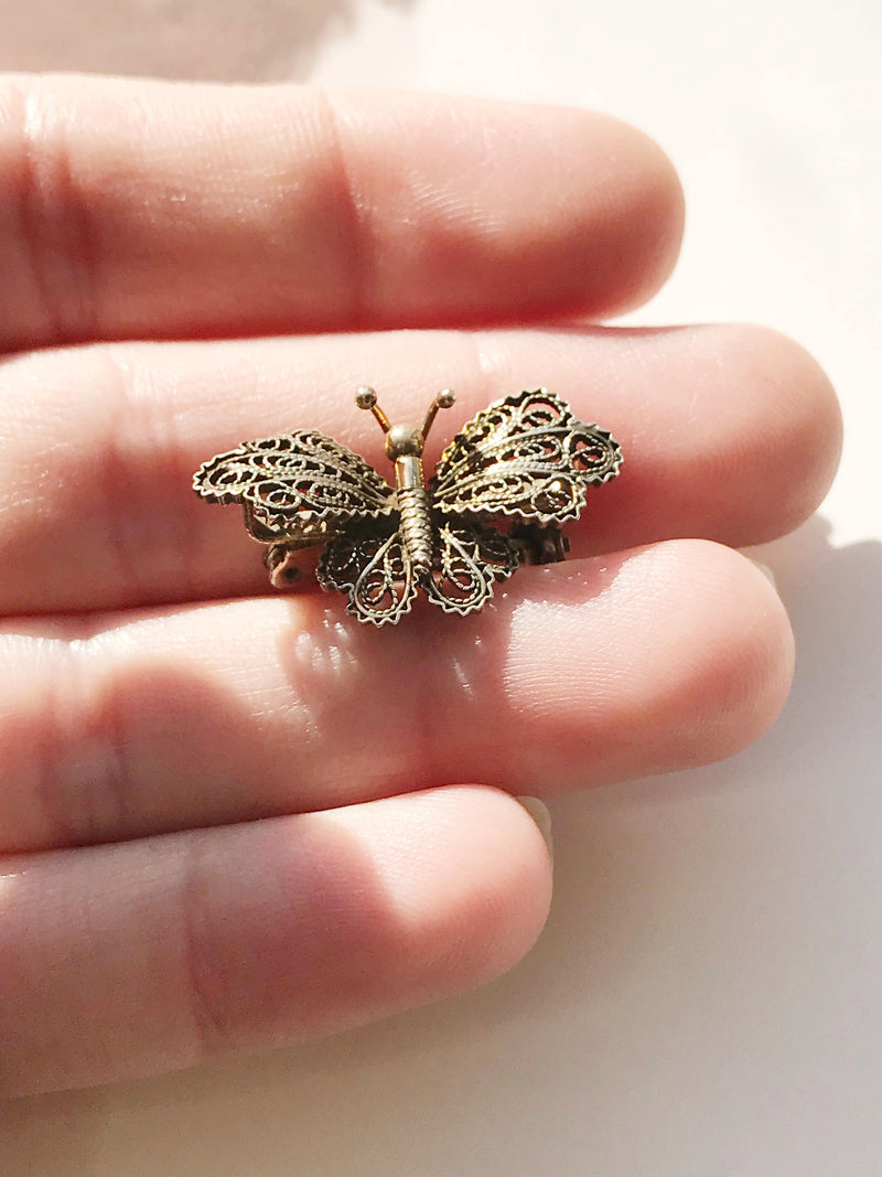 Antique butterfly pin | 1920's Art Deco small dainty cannetille filigree butterfly brooch | 800 silver gilt | change, hope, strength gift