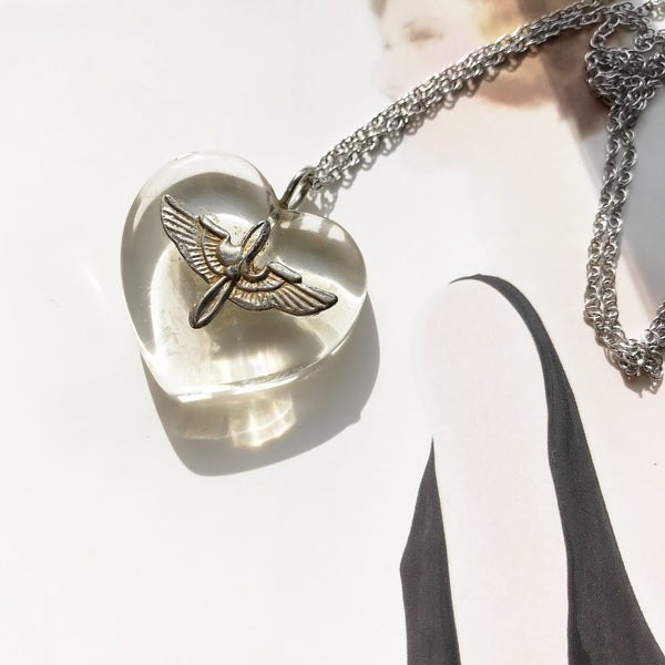 Vintage WWII Army Air Corps sweetheart heart necklace | sterling silver lucite jewelry | 1940's Army Air Force Military collectible jewelry