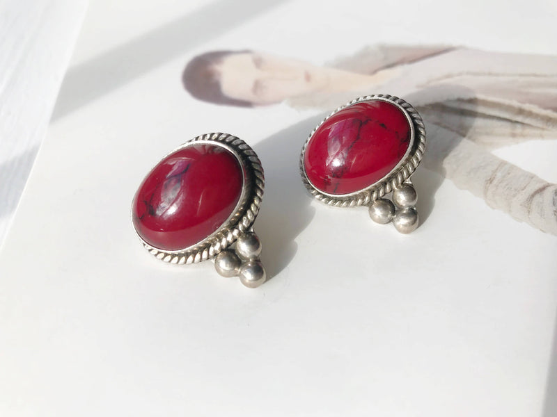 Vintage red jasper earrings | Mexican silver red stone studs | Native American Southwestern coral color earring | endurance protection stone