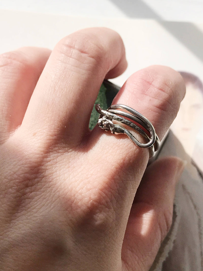Vintage snake ring | sterling silver Bohemian serpent wrap ring | snake stack ring | sea creature ring | sea monster ring| Size 6