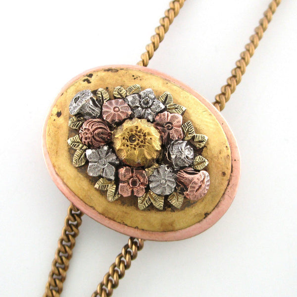 Edwardian flower slide pendant necklace with fob | vintage 1900's rose gold filled floral engraved charm necklace | simulated citrine fob