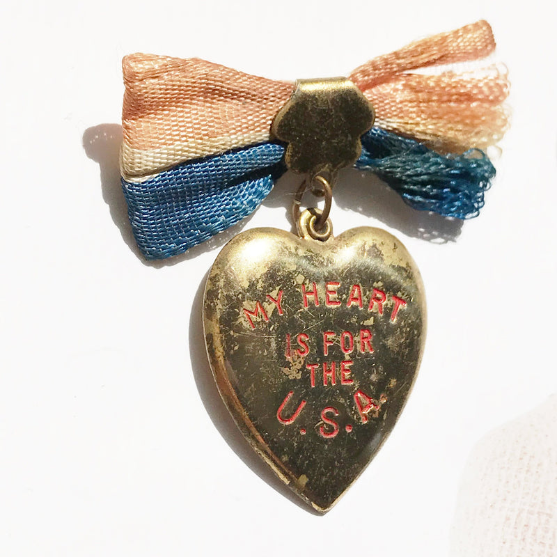 WWII USA pin | vintage military my heart for the USA patriotic ribbon pin | red white and blue U.S.A. brooch | 1940's sweetheart jewelry