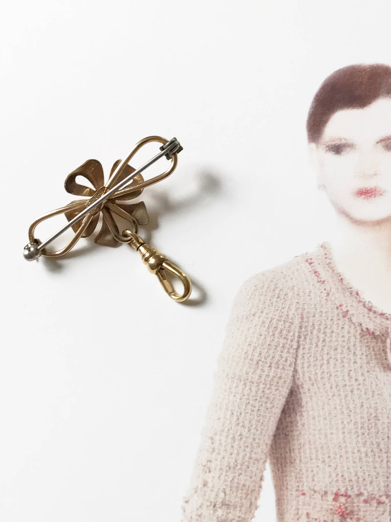 Vintage flower pin charm holder fob pendant | 1940's Art Deco Van Dell rosy gold filled floral brooch | flower bridal hair pin