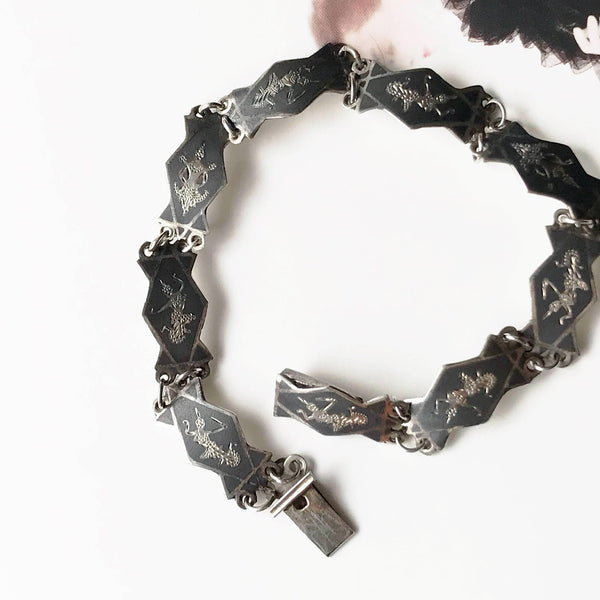 Vintage Siam niello bracelet | 1940's Thailand black Nielloware goddess god Mekkala panel link bracelet | Ramakien legend | Asian bride