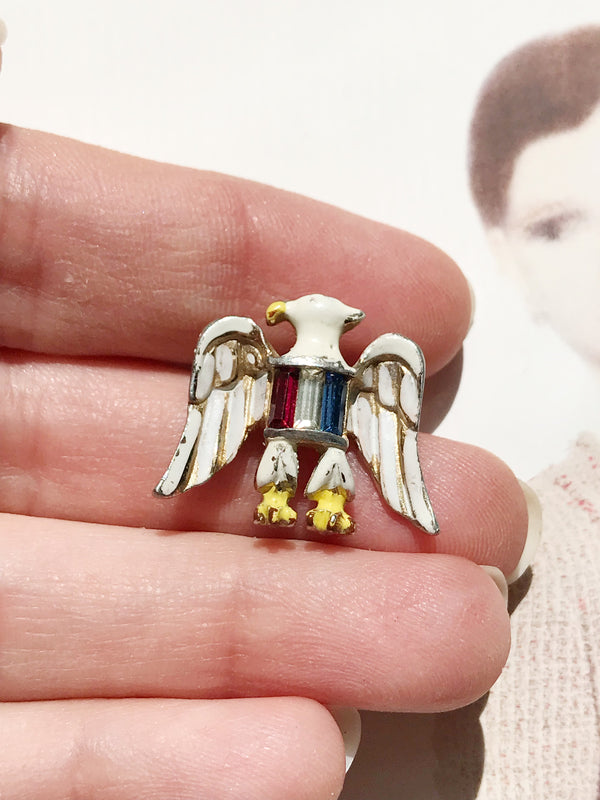 Vintage Coro eagle patriotic pin | 1940's WWII red, white and blue USA rhinestone pin | gift for military | enamel bird costume jewelry