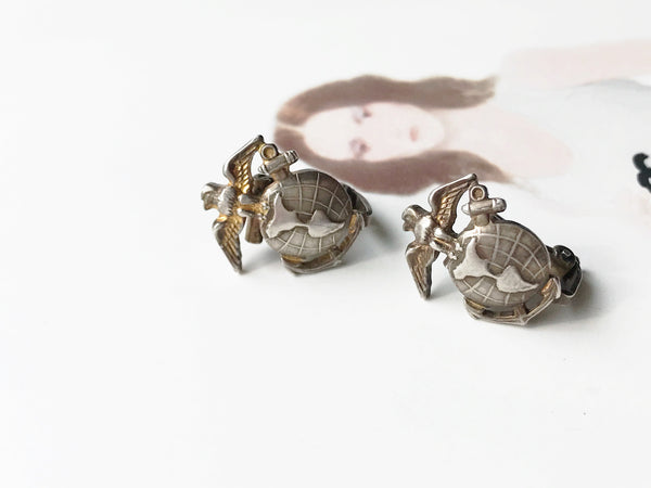 Vintage Marine earrings | 1940's WWII military US Marines clip on earrings | 1940's sweetheart jewelry | gift for military wife mother