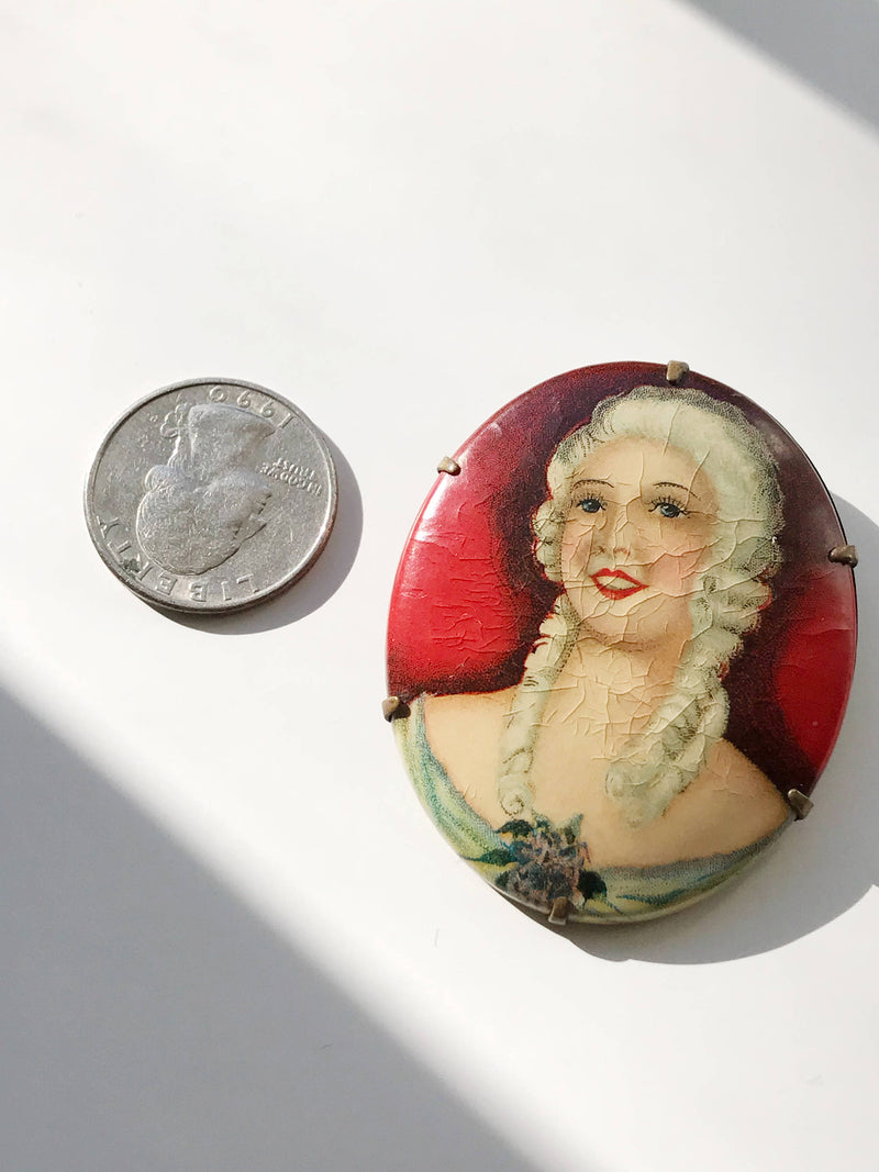 1920's flapper girl pin | lithograph print on celluloid Art Deco brooch | French woman theater Ziegfeld follies picture pin | large Deco pin