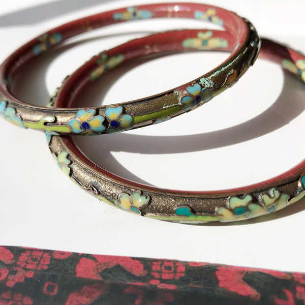 Vintage flower enamel bracelets | 1940's Chinese export Asian bangles | red, gold, green Art Deco floral jewelry | Asian bride bracelets