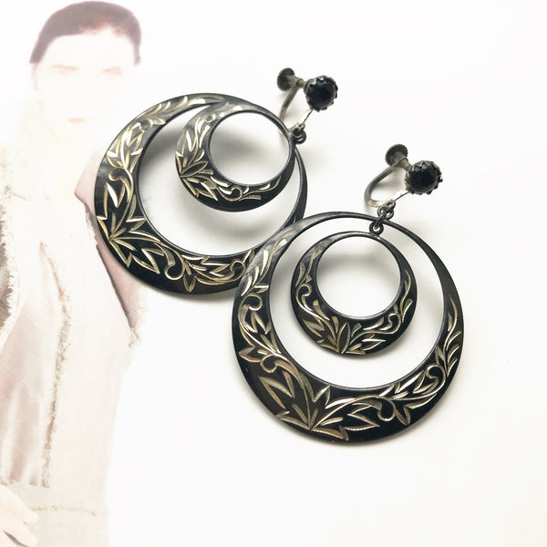 Vintage niello screw back hoop earrings | 1940's large statement etched 950 silver earrings | double hoop flower black nielloware earrings