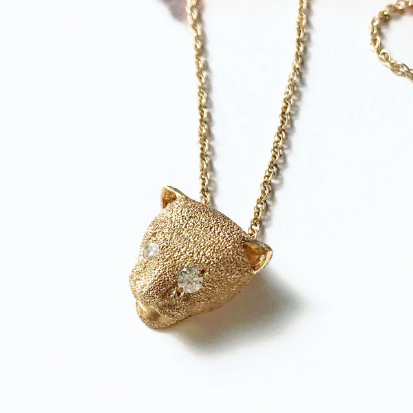 Vintage cat necklace | 1970's jaguar head diamond charm | diamond eyes cat outline | strength protection charm | gift for cat lover