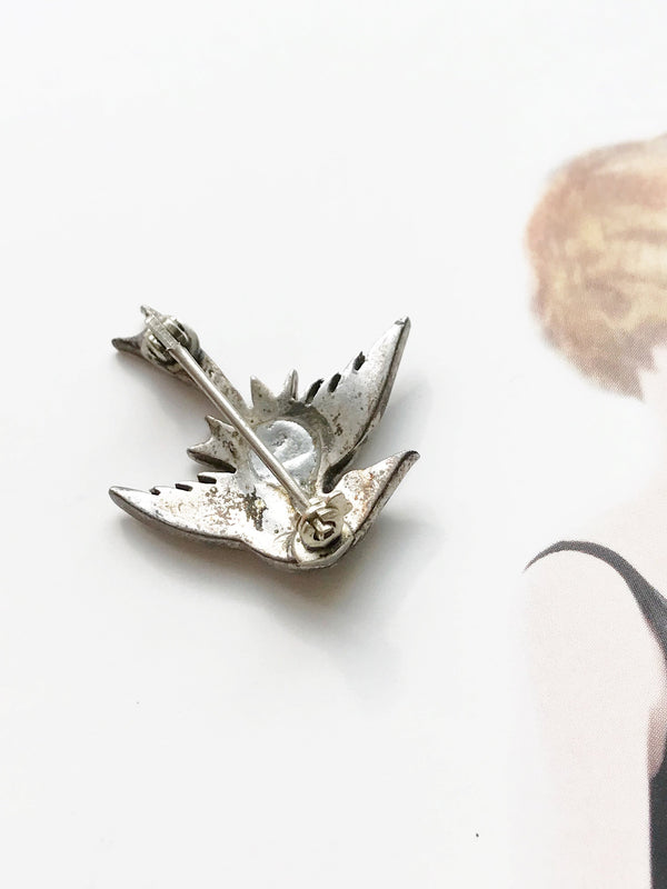Vintage swallow bird pin | 1940's Art Deco sterling silver marcasite flying bird brooch | freedom, hope, love and loyalty animal pin