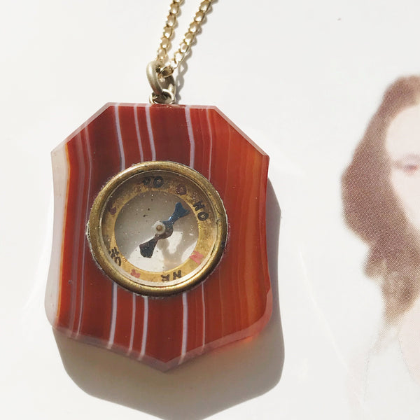 Antique compass charm fob | Victorian 1900's orange and white agate stone compass pendant charm | gift for traveler graduation transition