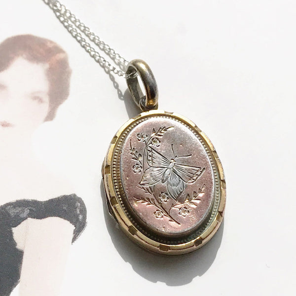 Antique butterfly flower locket | early 1900's Edwardian oval floral locket necklace | gold wash over silver | gift for her | transformation