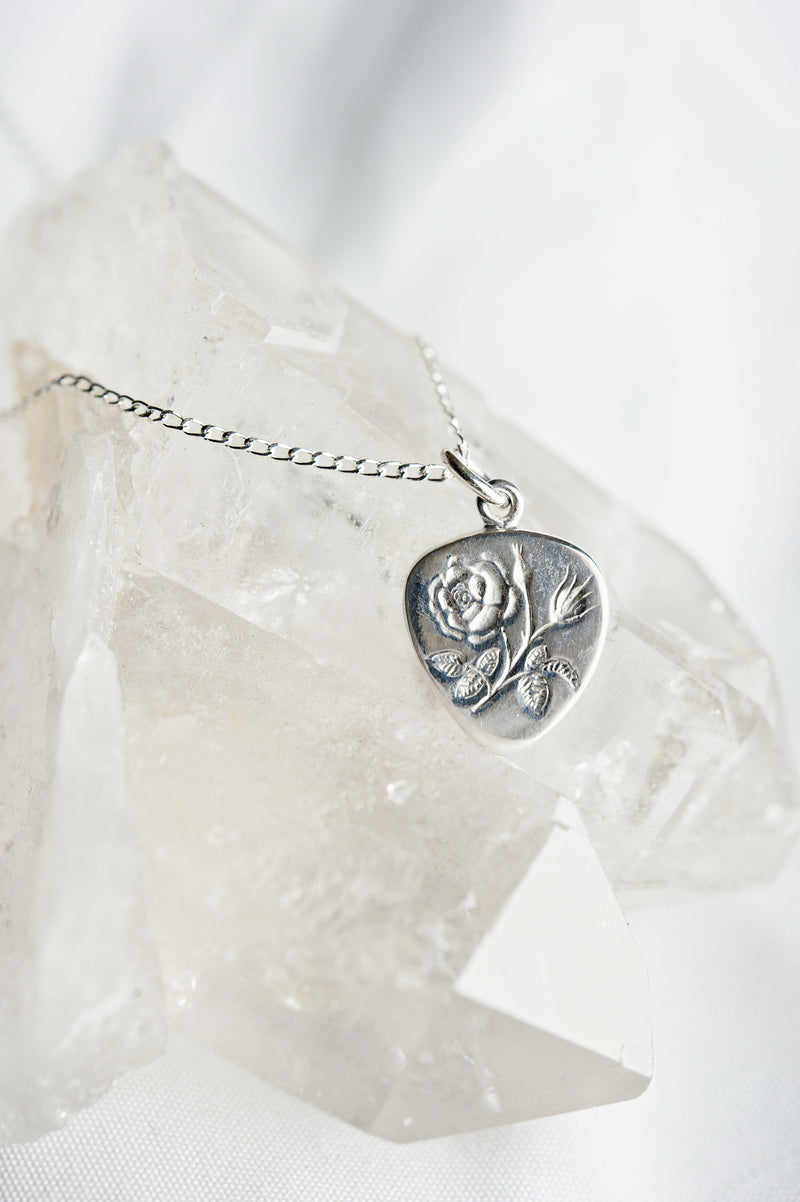 Rose remembrance necklace | miscarriage rainbow baby stillborn baby child loss | funeral grief flower jewelry | intaglio engraved charm