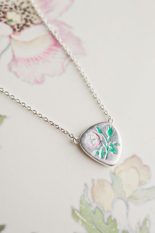 Rose remembrance necklace | miscarriage rainbow baby stillborn baby child loss | funeral grief flower jewelry | intaglio engraved enamel