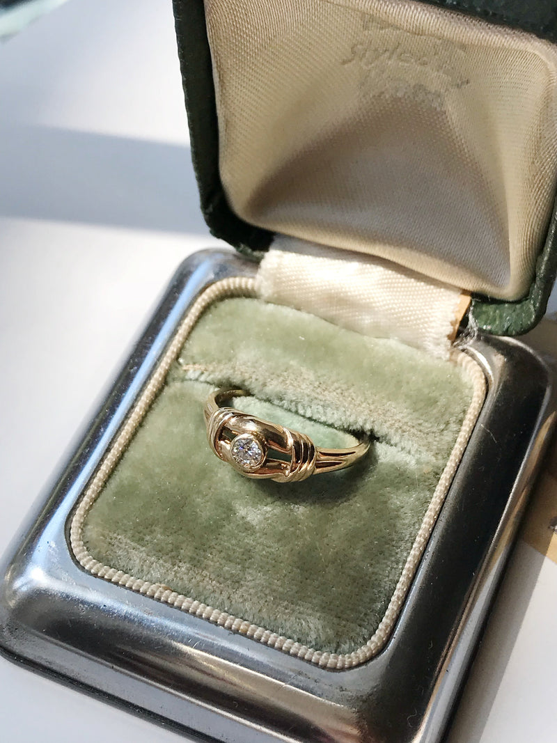 Vintage diamond love knot ring | lover's sailor knot 14k gold boho engagement promise ring | size 4 3/4 | friendship, anniversary gift