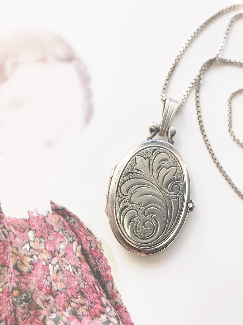 Vintage silver locket | 1950's engraved floral picture locket necklace | 835 silver bridal locket | anniversary Mother's Day gift for her