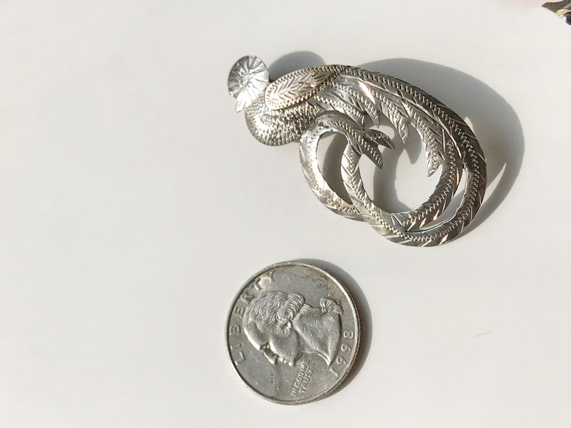 Vintage Quetzal bird pin | South Central American Guatemala made jewelry | silver and copper tropical bird brooch | 1940's souvenir jewelry