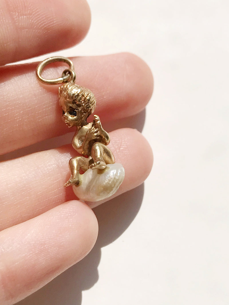 Rare William Ruser vintage cherub charm | 14k gold sapphire Mississippi freshwater baroque pearl | Monday's Child charm | Tuesday's Child