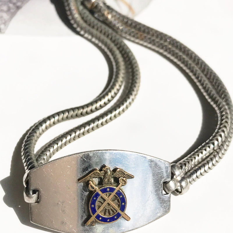 Vintage WWII Army Quartermaster Corps Officer sweetheart bracelet | 1940's Army Military collectible jewelry | vintage army tag snake chain