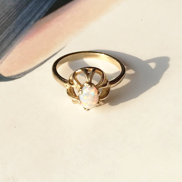 Vintage opal ring | retro 1960's 14k gold small opal ring | bohemian pinky rainbow sea urchin ring | October birthday girl ring | size 3.5