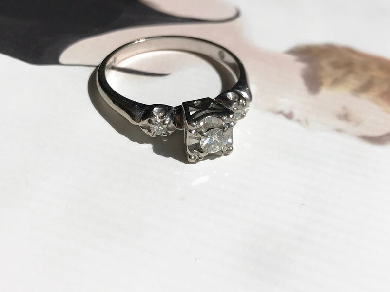 Vintage Engagement Ring | 14k White Gold 1940's Diamond Wedding Ring | Size 6 1/4 | Promise Trilogy three diamond ring | small dainty ring