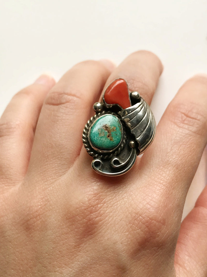 Vintage turquoise and coral ring | Native American Navajo signed Edsitty sterling silver ring | large arrowhead boho jewelry | size 5 3/4