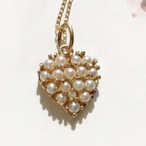 Vintage pearl heart charm | 14k gold heart pendant | 1960's retro gold charm | 17th anniversary gift for her | pearl bridal necklace | June