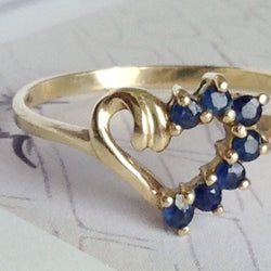 Vintage sapphire heart shaped ring | 1980's 10k gold small promise engagement anniversary ring | small sapphire ring | size 6.5