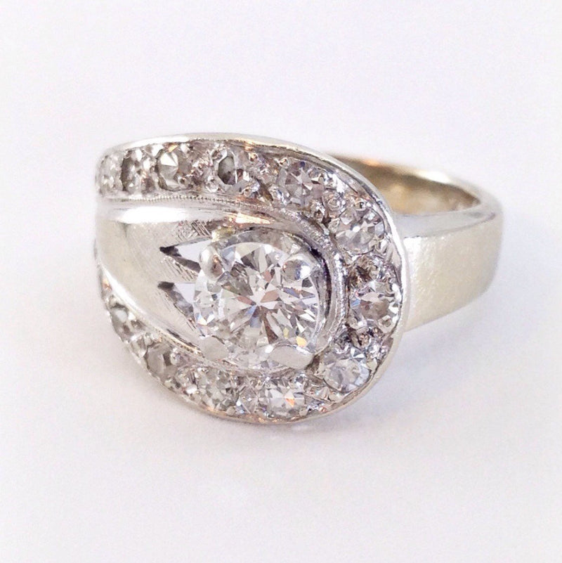 Art Deco 1 CT diamond ring | 1940's 14k white gold large cocktail engagement anniversary ring | unique Art Deco diamond ring | size 5