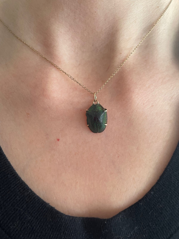 Antique Scarab Beetle Charm Necklace