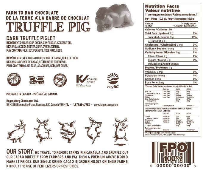 Dark Chocolate Truffle Piglets Nutrition label