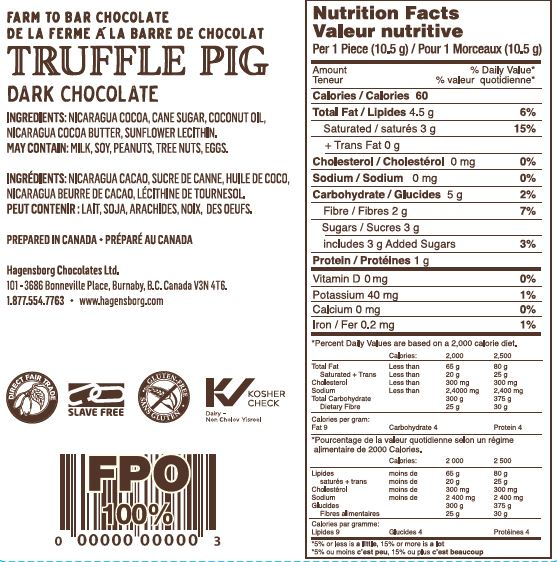 70% Cacao Dark Chocolate Piglets Nutrition Label