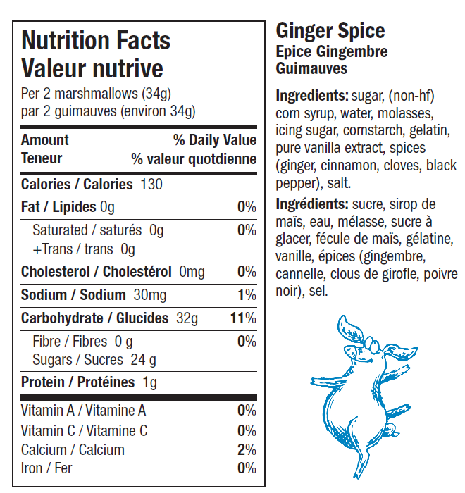 Ginger Spice Snuffle for Truffle Marshmallows Nutrition Label