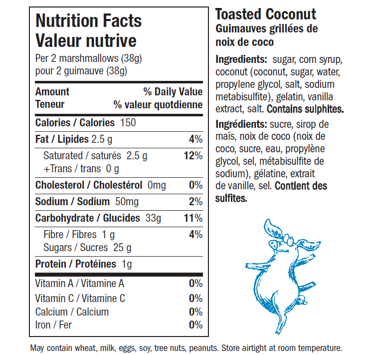 Toasted Coconut Snuffle for Truffle Marshmallows Nutrition Label